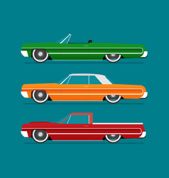 Flat lowrider car set vector