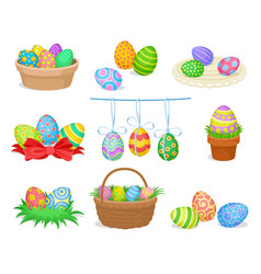 flat set of decorative easter compositions vector image