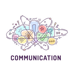 from communication icons in chat bubbles vector image