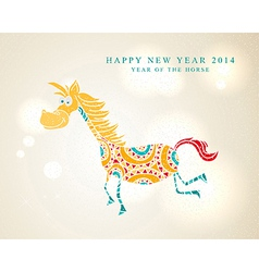 Funny cartoon horse Chinese New Year 2014 vector image