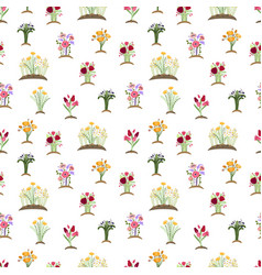 garden flowers pattern colorful tulips daisy vector image