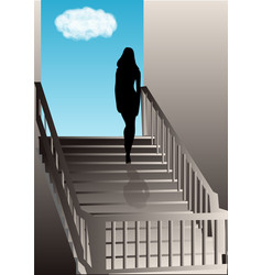 girl on the stairs vector image
