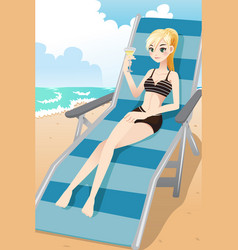girl relaxing on the beach vector image