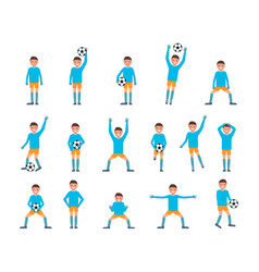 goalkeeper man icons set flat style vector image