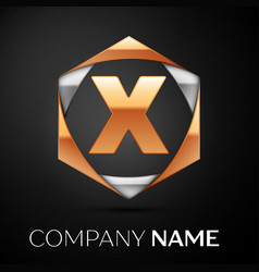 Gold letter x logo in the golden-silver hexagonal vector