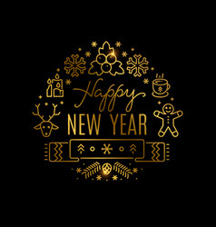 gold new year banner with line icons vector image