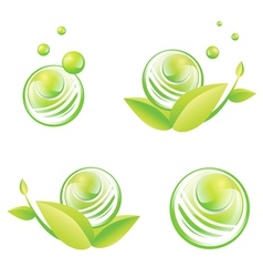 Green Designs With Baubles vector image