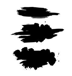 Grunge ink brush strokes freehand black brushes vector