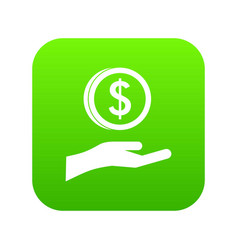 hand and dollar coin icon digital green vector image