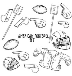 Hand drawn american football elements vector
