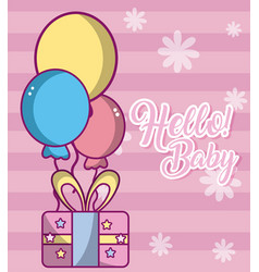 Hello baby cute card vector