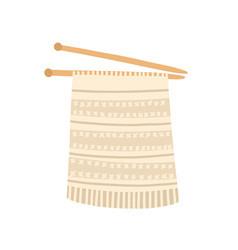 knitted needles flat cozy vector image