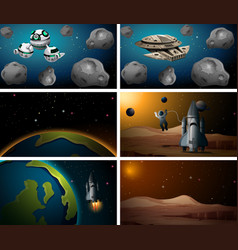 large set space scenes vector image