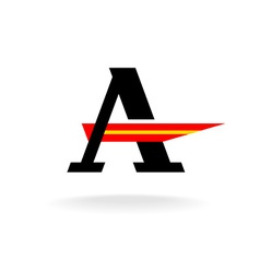 Letter A logo template with serifs and red wing vector image