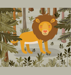 Lion in the jungle scene vector