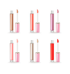Lip gloss set realistic 3d package beauty vector
