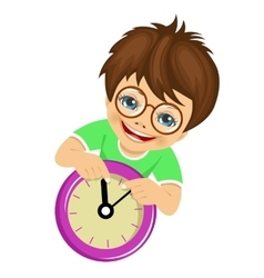 little boy showing arrows on the wall clock vector image