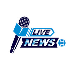 live reportage conceptual logo created vector image