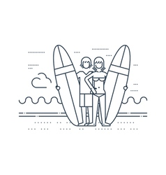 Man and woman on the beach with surf boards vector image