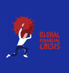 man panic runs away coronavirus crisis draw vector image