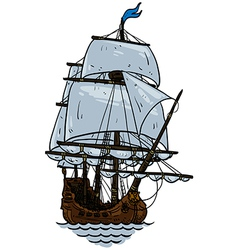 Marine theme sailboat vector