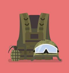 Military helmet vest and hand grenade vector