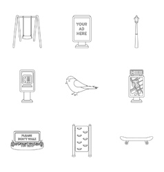 Park set icons in outline style Big collection of vector