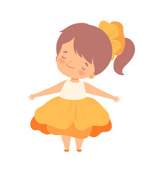 Pretty little girl wearing orange flower costume vector