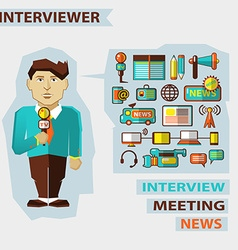 Profession of people Flat infographic Interviewer vector image vector image