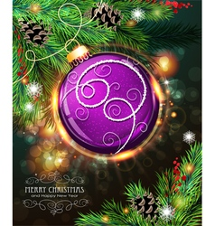Purple Christmas ball vector image
