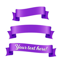 purple ribbon banners set old vintage style vector image