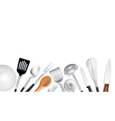 realistic cooking tools background vector image