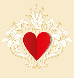 Red paper love heart with ornamental floral vector