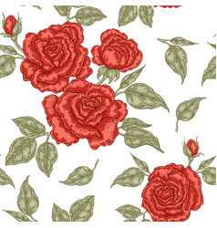 Red rose flowers buds and leaves seamless vector