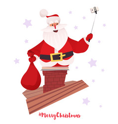 santa claus making selfie from chimney vector image