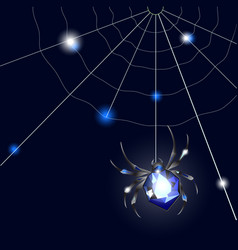 Sapphire spider and web on black background with vector