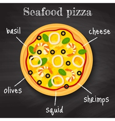 Seafood pizza vector