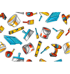 seamless pattern with repair working tools vector image