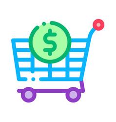 shop cart dollar icon outline vector image