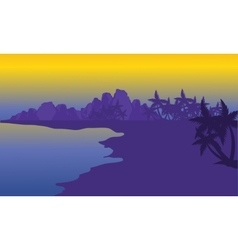 Silhouette of beach with purple backgrounds vector