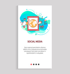 social media smartphone with globe earth planet vector image
