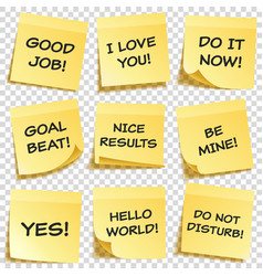 Sticky note with text and shadow isolated on vector