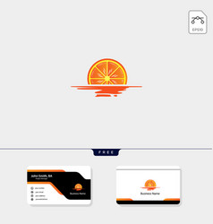 sunset sunrise orange logo template free vector image