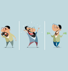 Three men in different situations vector