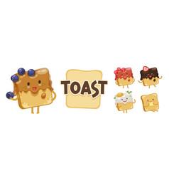 Toast emoji set vector