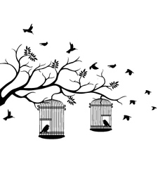 Tree silhouette with bird flying vector