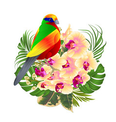 tropical bird with tropical flowers vector image