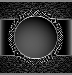 vintage round frame with metal border pattern vector image