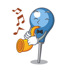 With trumpet clyster mascot cartoon style vector