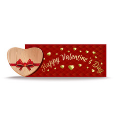 wooden heart for valentines day banner vector image